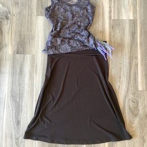 Dresses & Skirts - Drapey A Line Swing Skirt Business Casual Brown XS